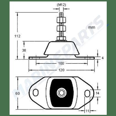 Moottorikiinnikke Yanmar max 55 kg, Marineparts Finland