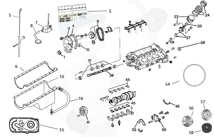 Varaosia moottorinlohko GM V8 5.0 & 5.7 ltr., Marineparts