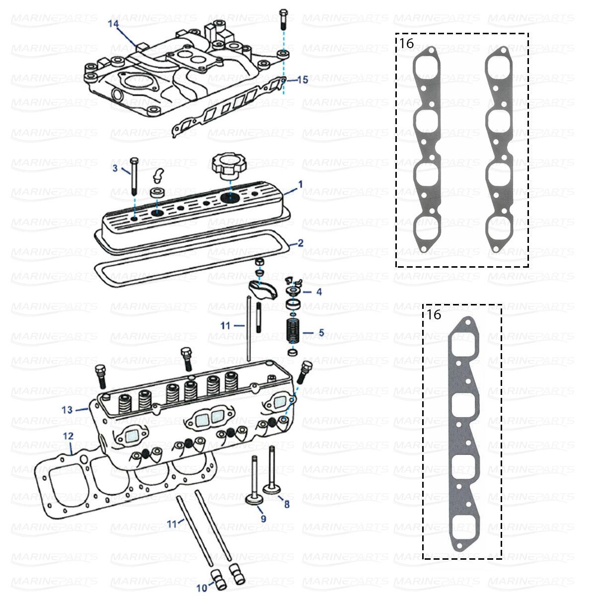 Moottorinosat MerCruiser sisäperämottorille, Marineparts