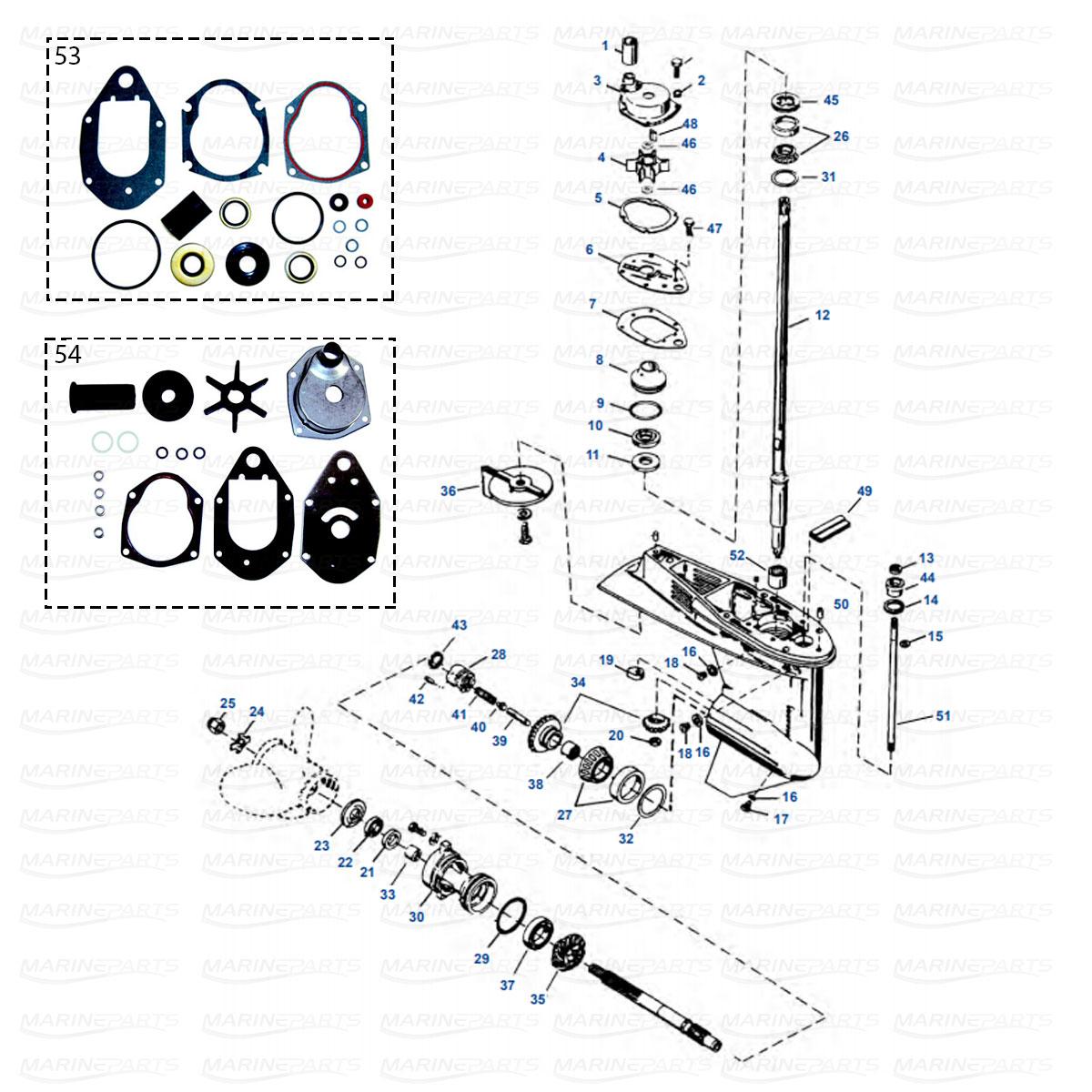 Mercury/Mariner 50, 55, 60 hp (3-silindriline, 2T) & 40
