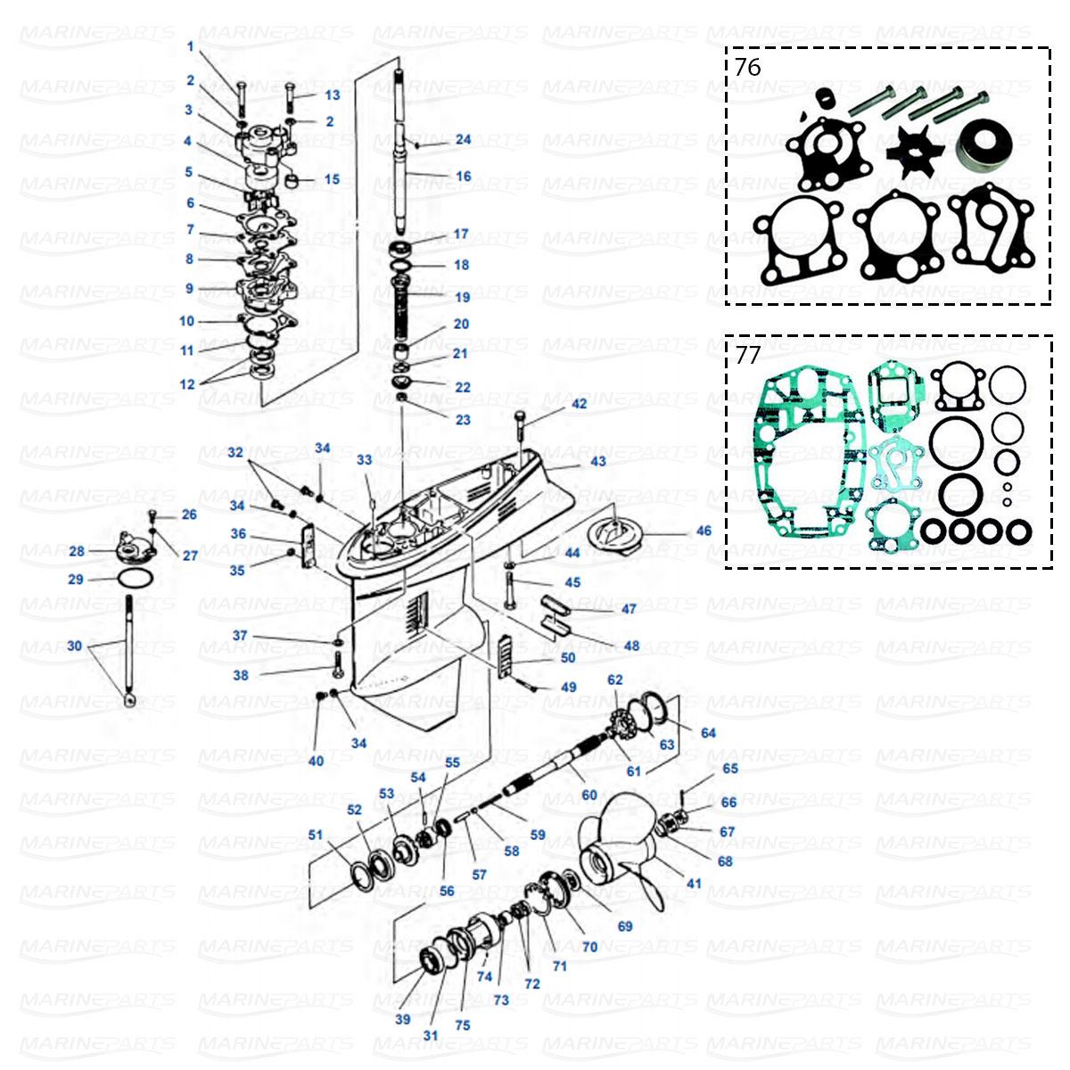Yamaha gearcase parts for outboard motor, marineparts.eu