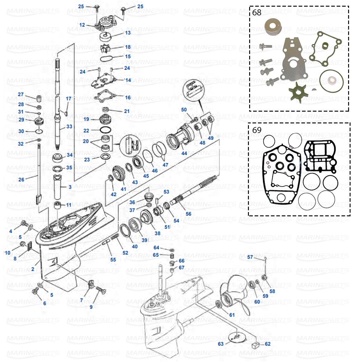 Yamaha perämoottoreiden vaihteiston osia, Marineparts Finland