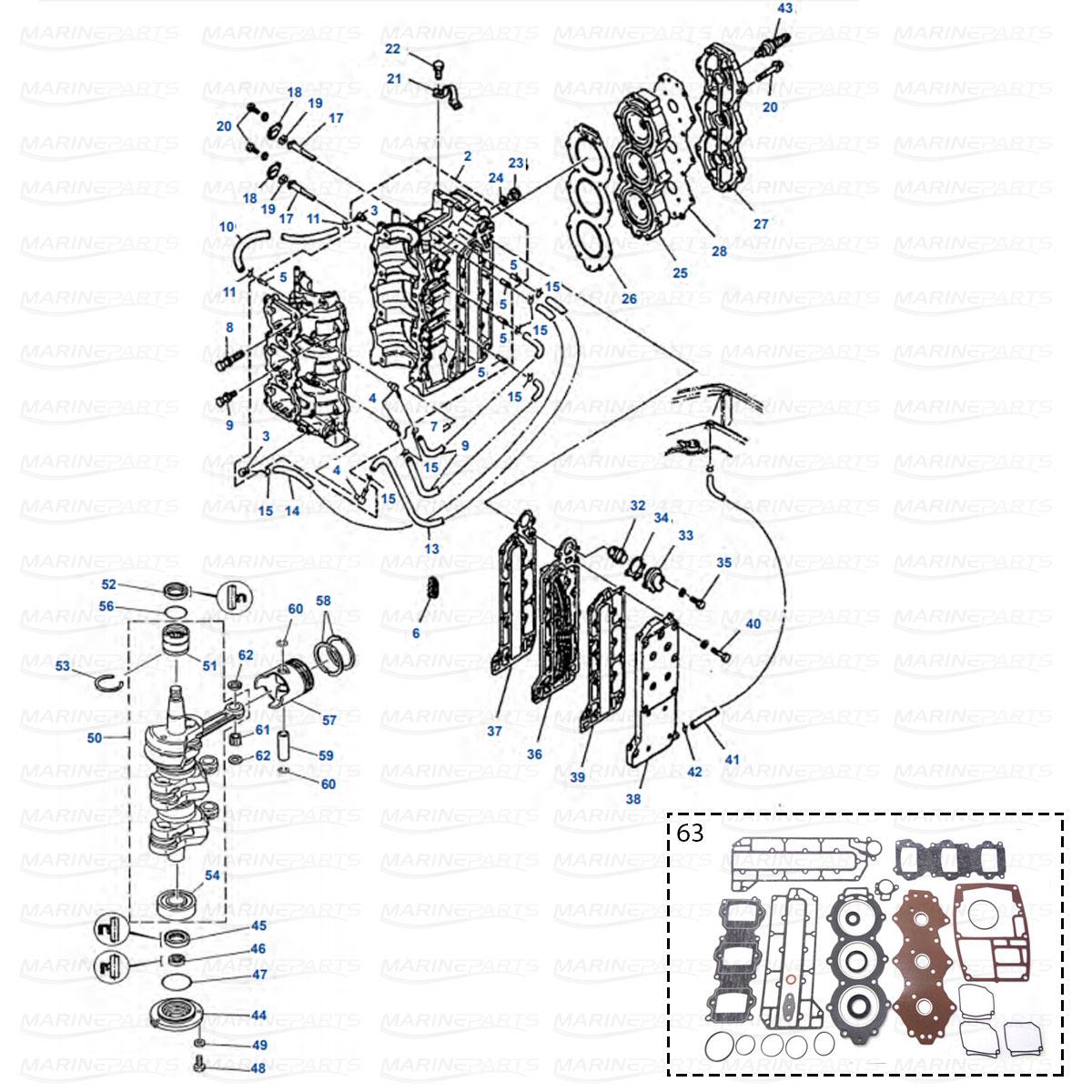 hight resolution of engine parts yamaha 50g 60f 60t 70b 70t