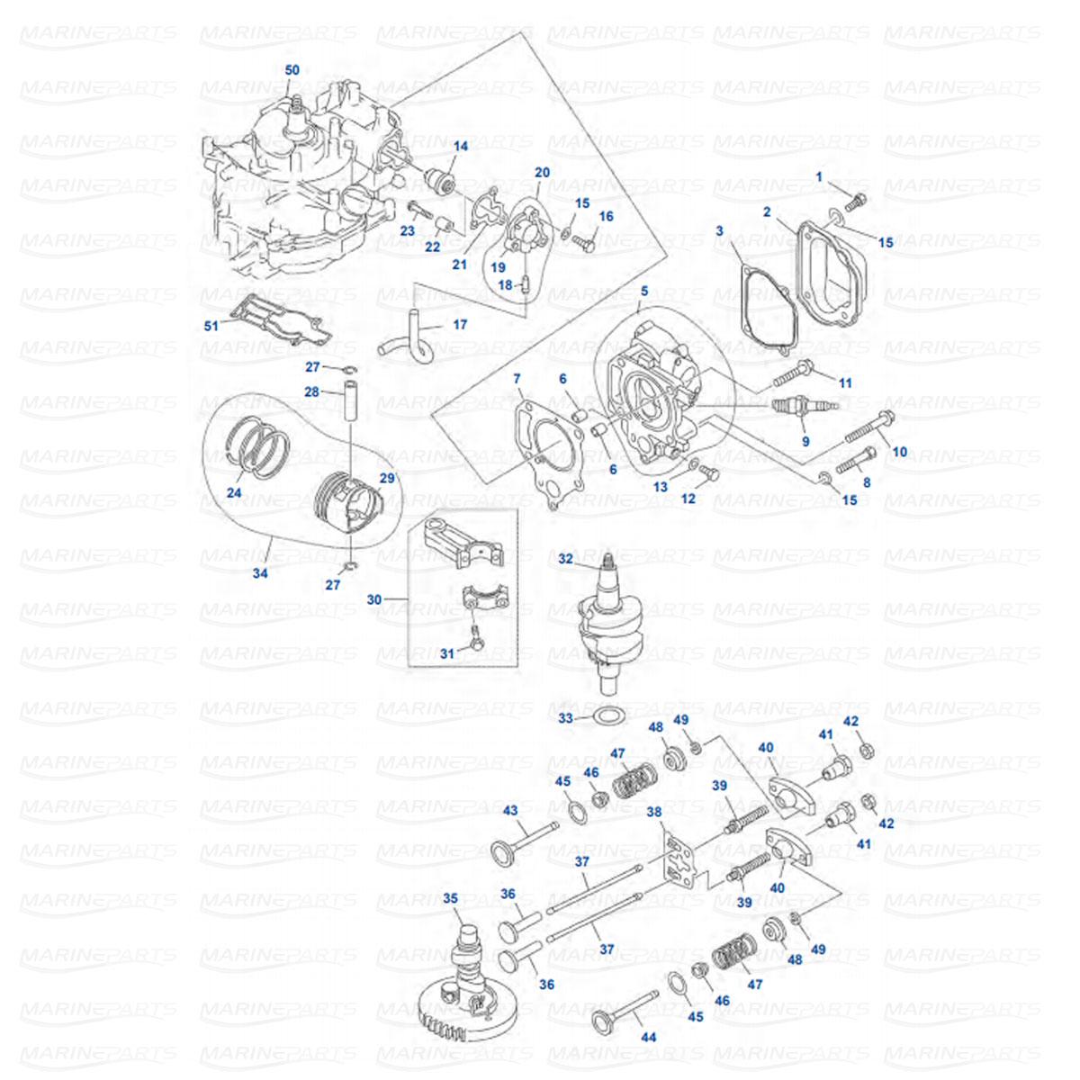 Yamaha engine parts for outboard motor, marineparts.eu