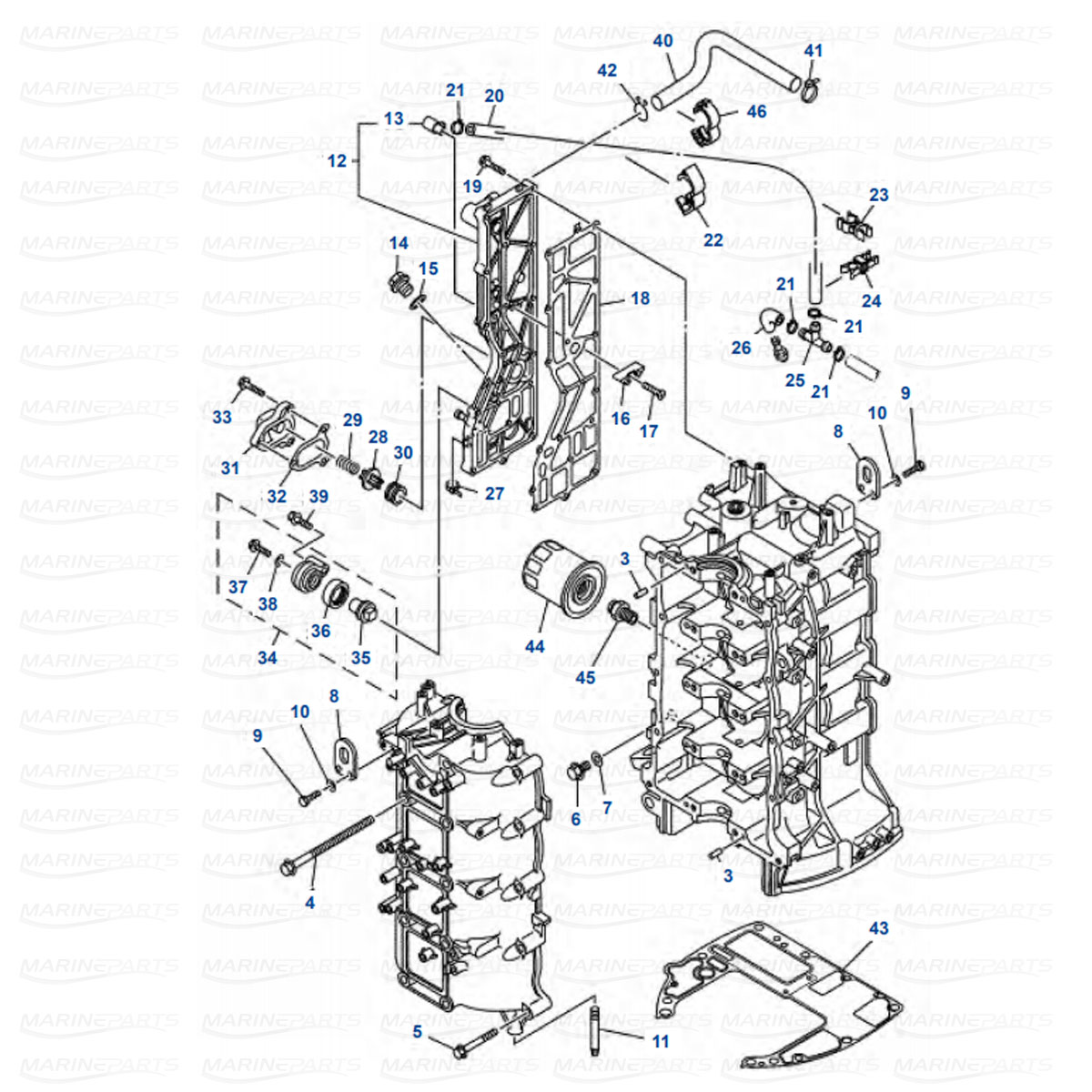 Yamaha engine parts for outboard motor, marineparts.eu