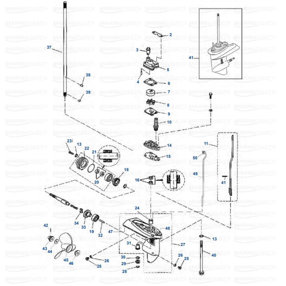 medium resolution of gearcase parts yamaha f4 1998 2009