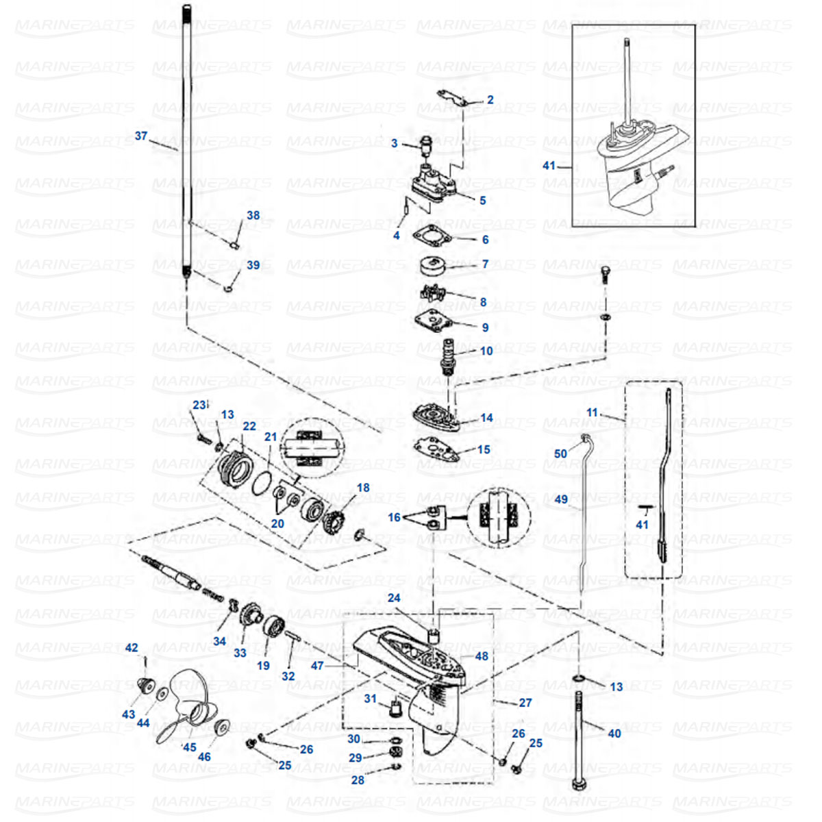 hight resolution of gearcase parts yamaha f4 1998 2009