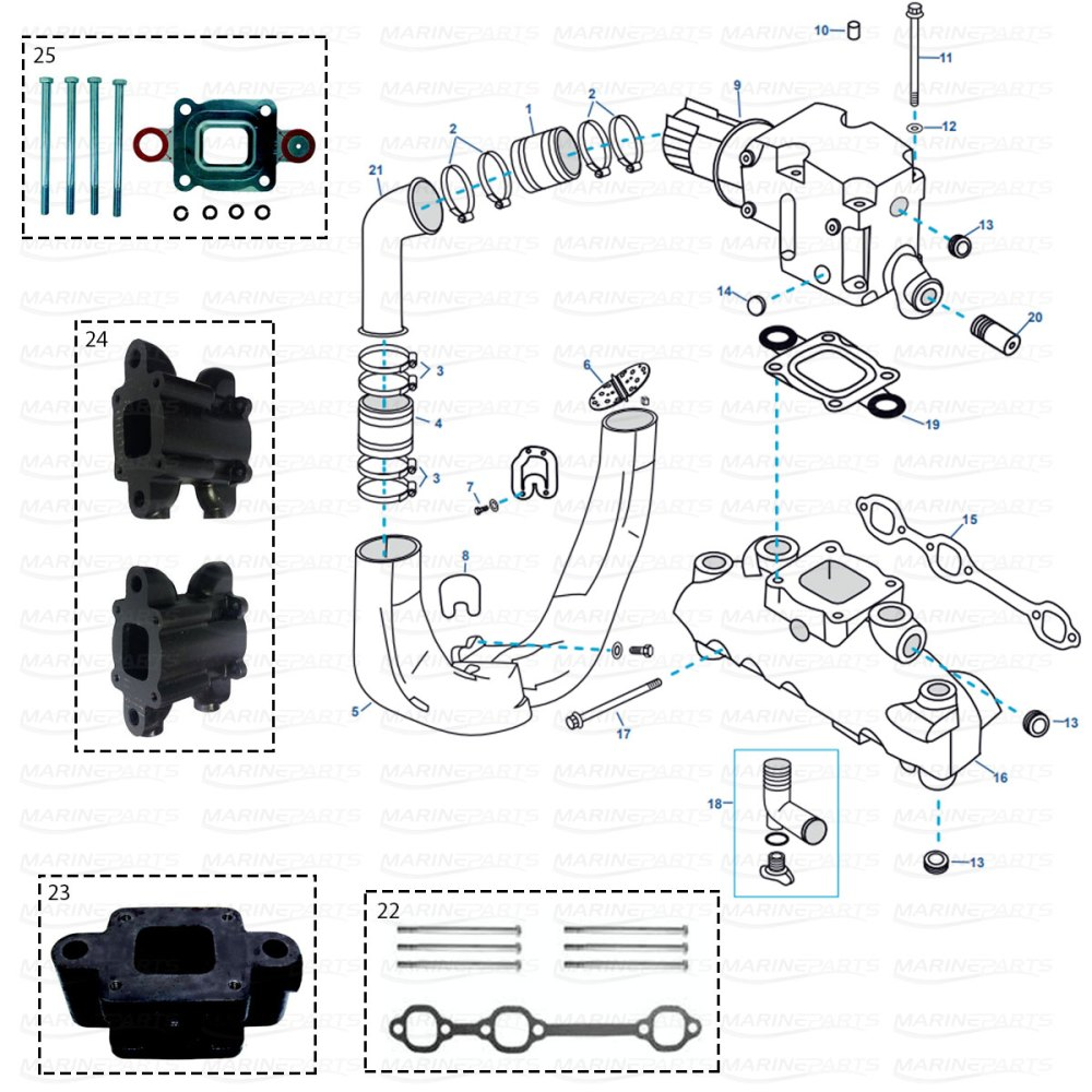 medium resolution of exhaust parts for mercruiser gm 4 3 ltr v6 mpi