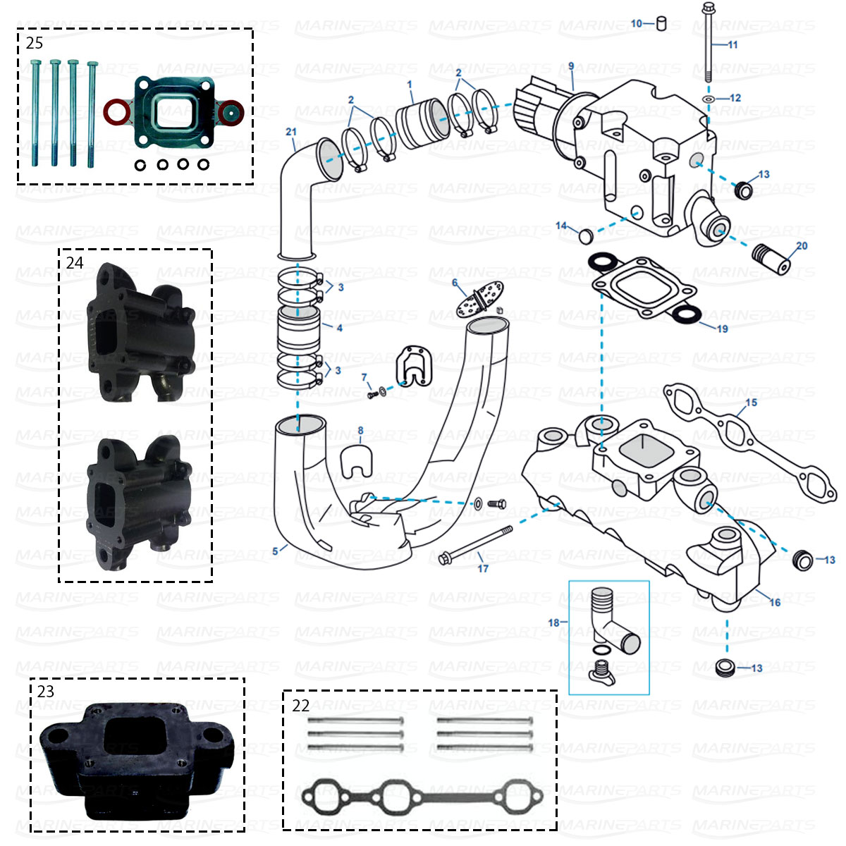 hight resolution of exhaust parts for mercruiser gm 4 3 ltr v6 mpi