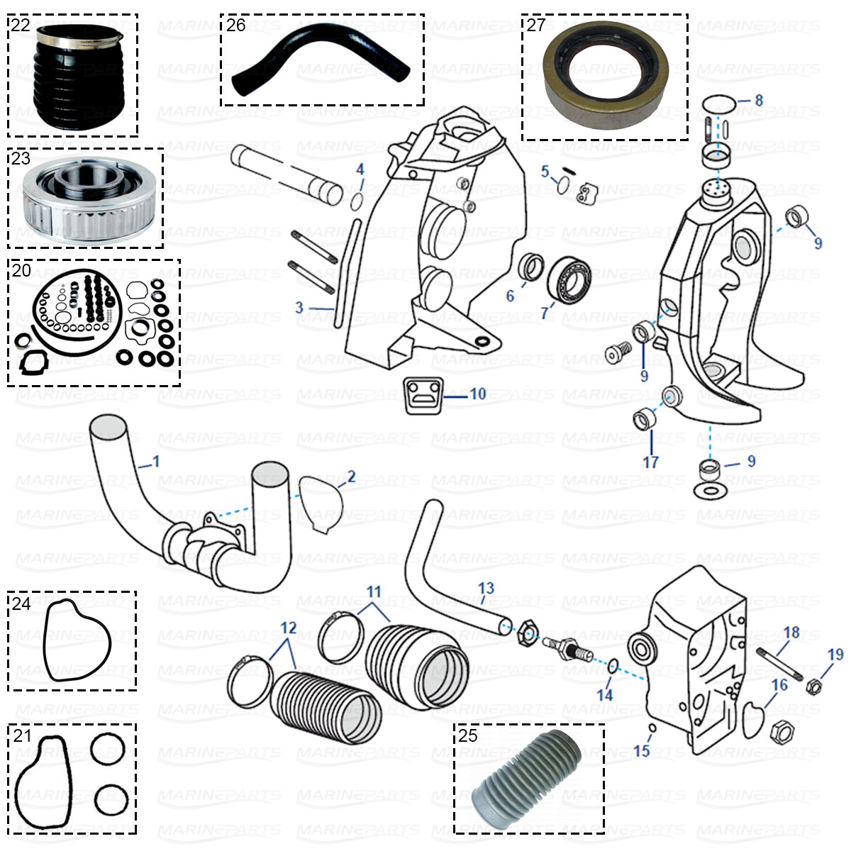 hight resolution of transom parts for volvo penta sx 1994 2006