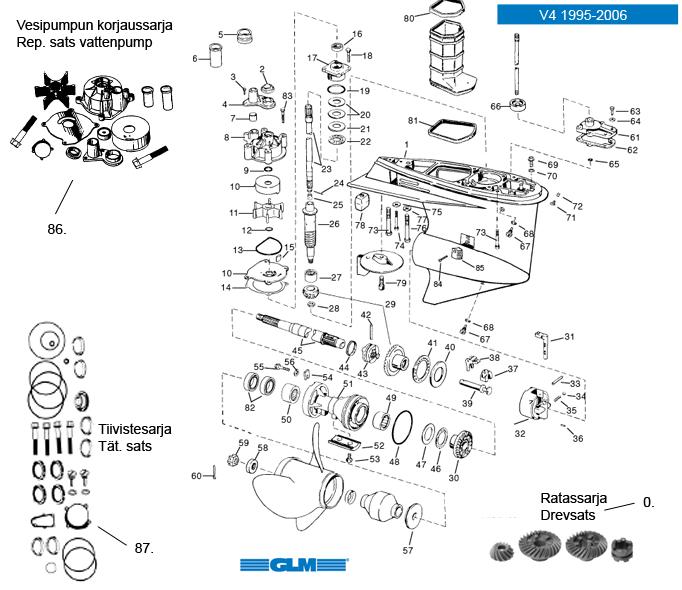 Evinrude / Johnson växelhusdelar till båtmotor