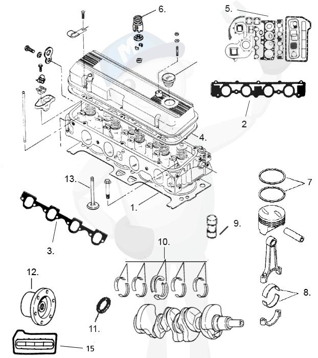 Varaosat » Sisäperämoottorit » MerCruiser » Moottorin osia