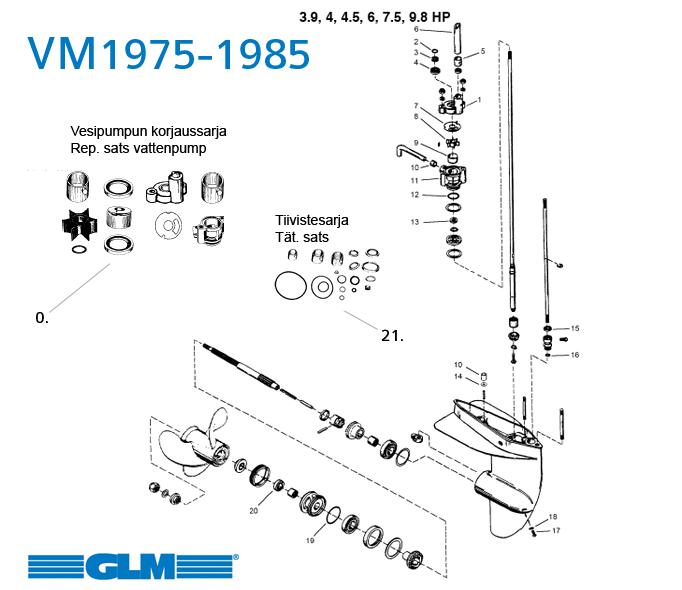 Växelhusdelar Mercury 3.9, 4, 4.5, 6, 7.5, 9.8 hk äldre