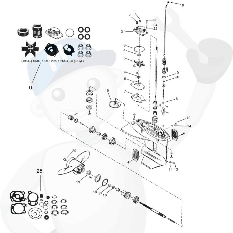 Mercury / Mariner växelhusdelar till båtmotor, Marineparts