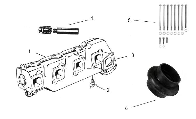 Avgasdelar för Volvo Penta 4 cyl. [AQ 120B, 125, 131, 140A