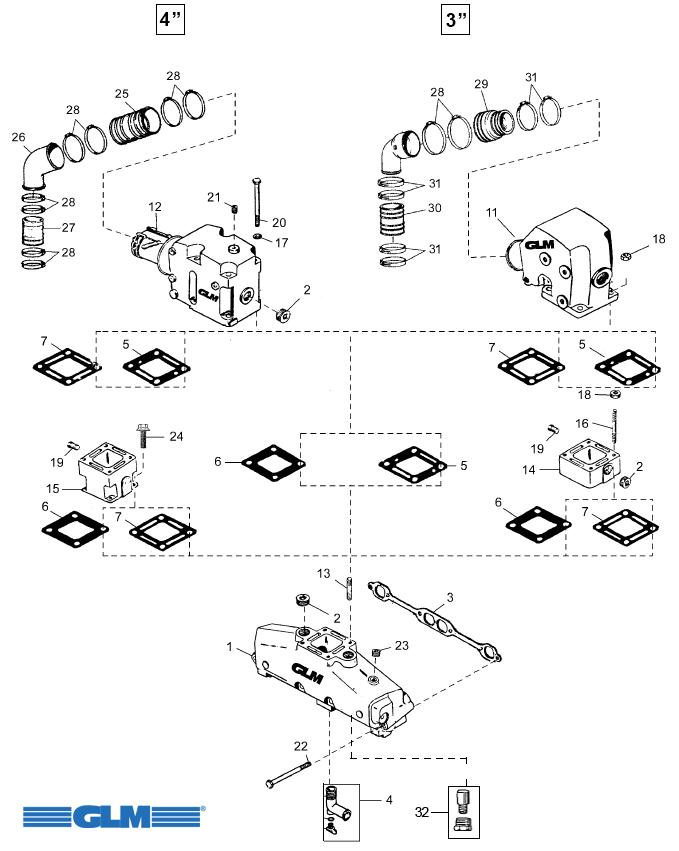 Avgasdelar MerCruiser V8 305/350/377 GM V8 (1983