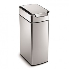Kitchen Stainless Steel Trash Can Rustic Wood Island Simplehuman 40 Litre Slim Touch Bar Bin Fingerprint