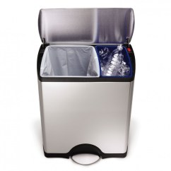 Simplehuman Kitchen Trash Can Costco Island 46 Litre Rectangular Recycler Fingerprint Proof Stainless Steel