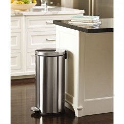 Simplehuman Kitchen Trash Can Kidkraft Pink Retro & Refrigerator 53160 30 Litre Round Pedal Bin Fingerprint Proof Brushed Stainless Steel
