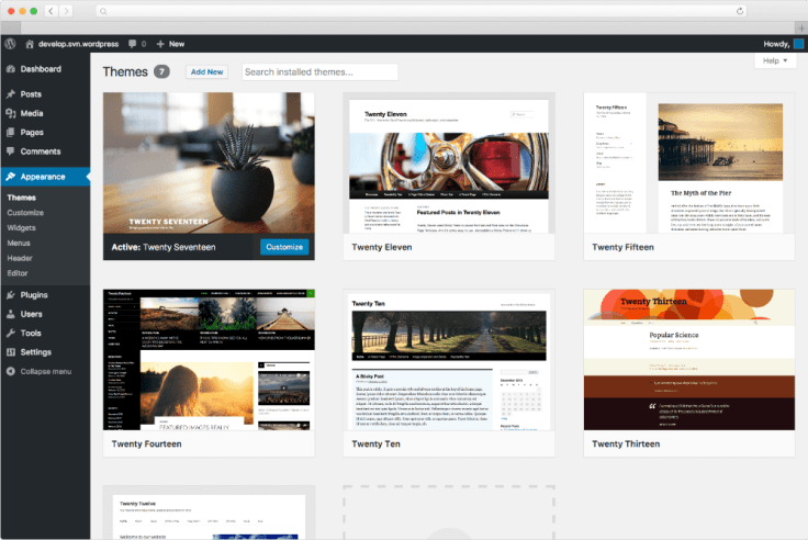wordpress theme dashboard
