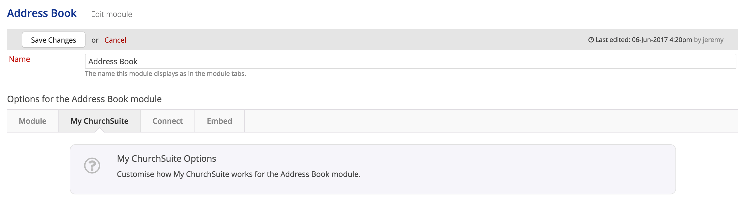 You'll Need Administrator Or 'manage Module' User Permissions To Access  That Area. In This Example, We're In The Address Book Module Settings.