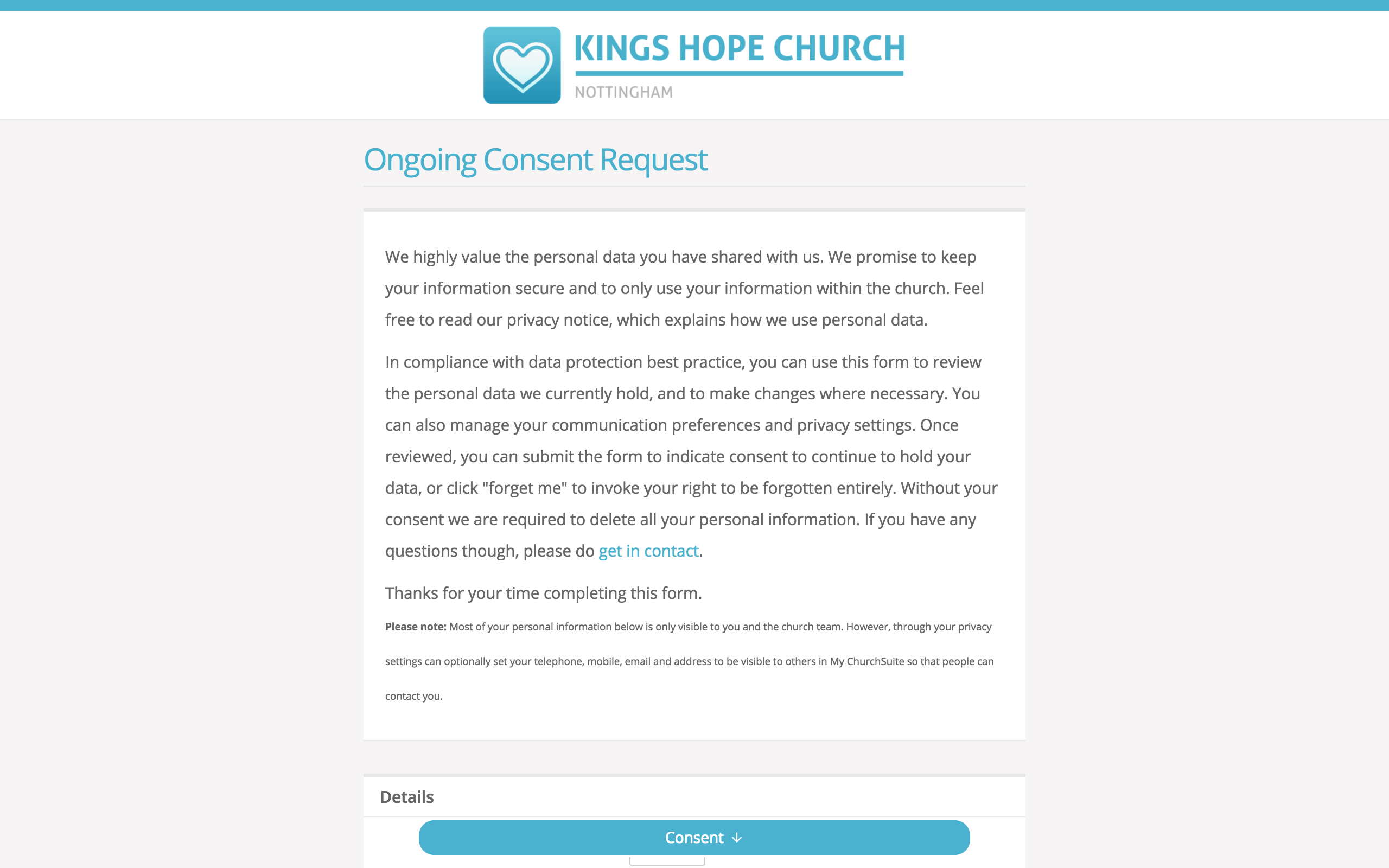 Ongoing consent - ChurchSuite Support Articles