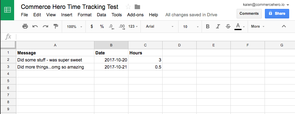 Sync Google Sheets Time Tracking - Commerce Hero Knowledge Base