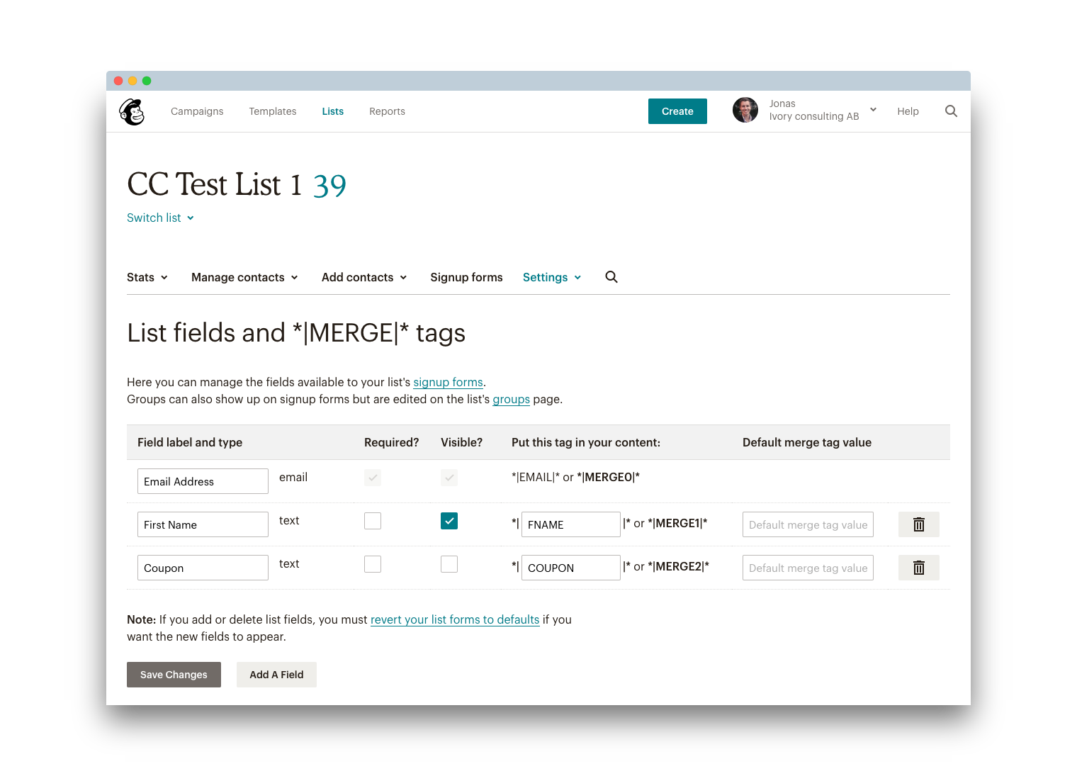 Trigger a custom Mailchimp Automation for your Code Email