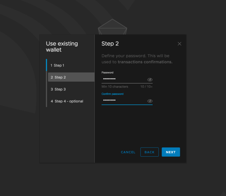 Step two of creating a SimplEOS Wallet using an existing wallet