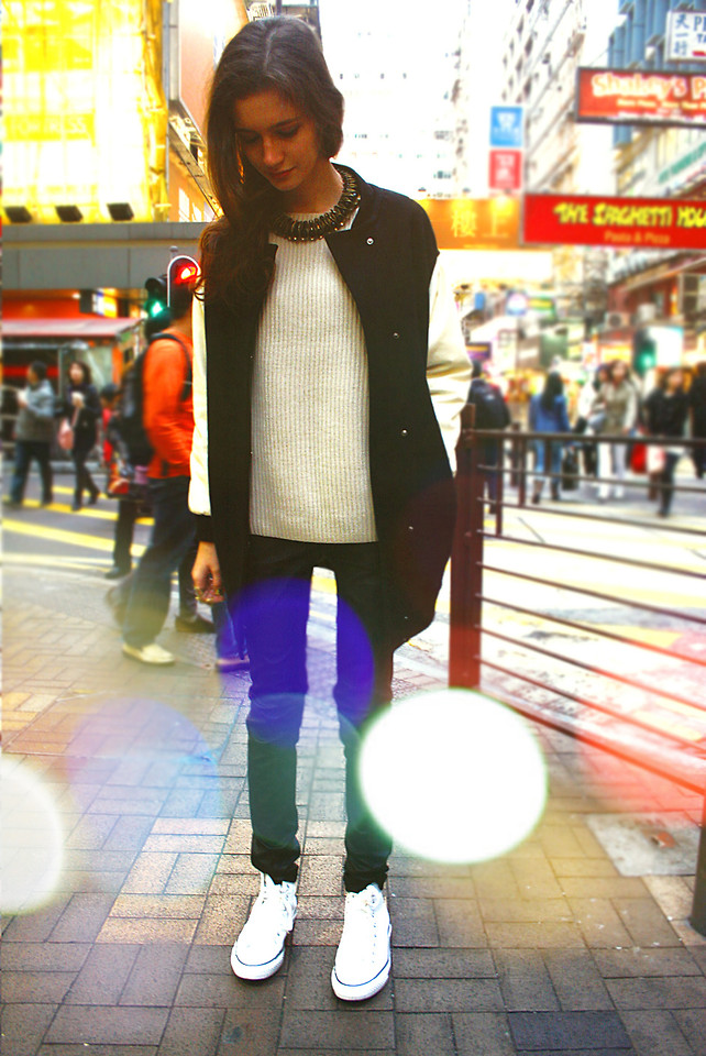 Anna Brain - Converse Sneakers. Leather Pants - STREET LIGHTS IN HONG KONG   LOOKBOOK