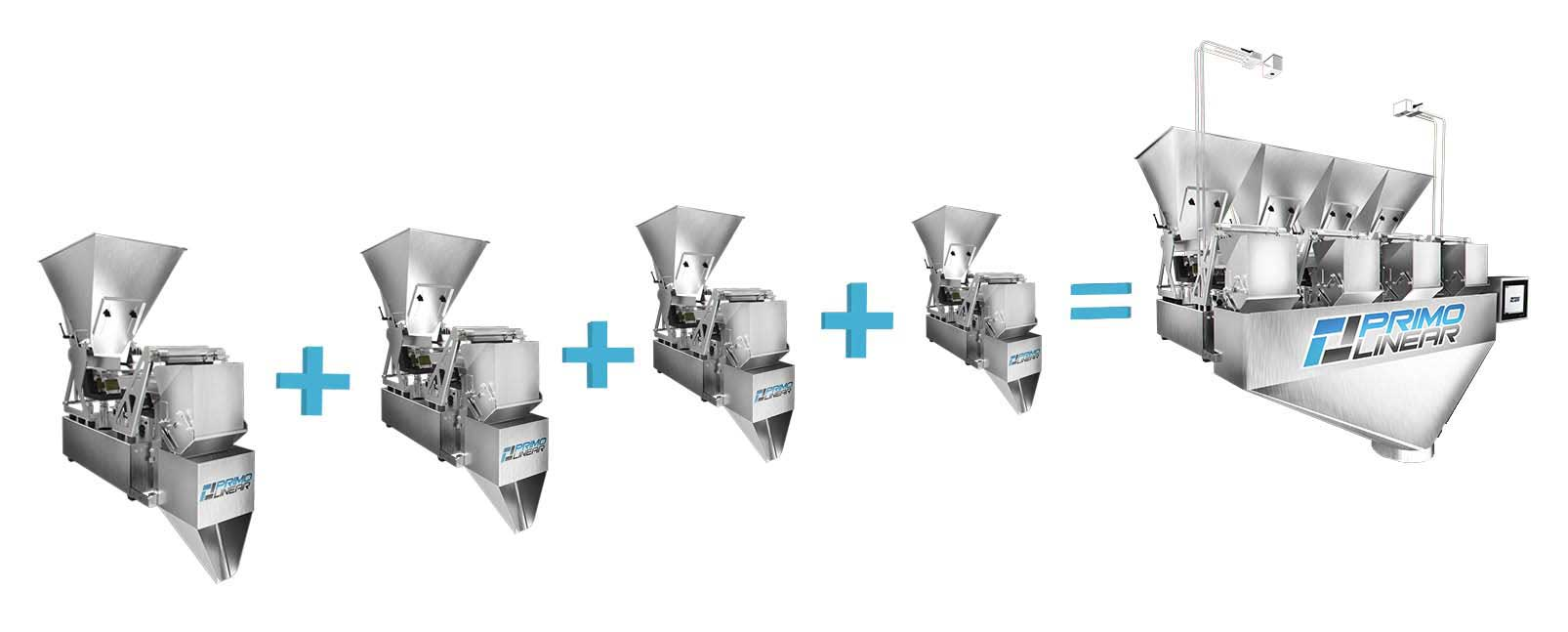 Conveyorized automatic weigh filling packaging machine