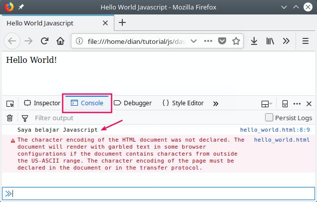 Program hello world di console javascript