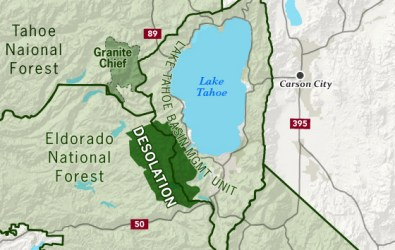 desolation wilderness map tahoe lake echo area trail sierra hiking crest maps gov permit bayview backpacking mountain most areas southwest