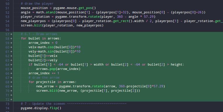 Kode untuk menggambar panah