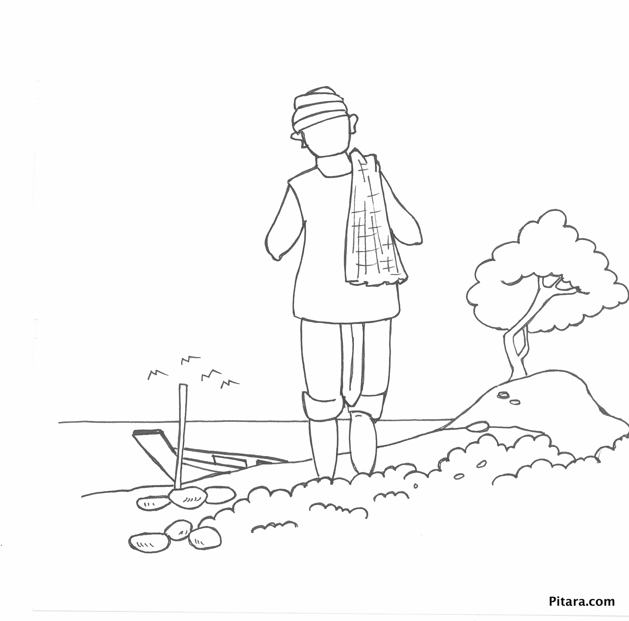 Indian village people coloring pages