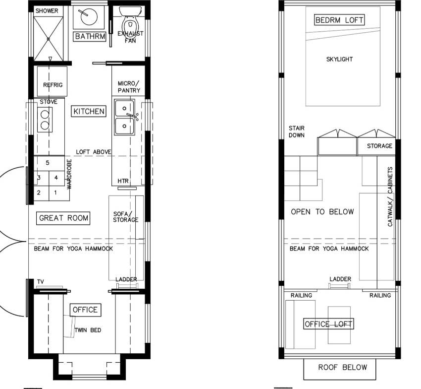 2 3 Bedroom Tiny House Plans Roundup Great For Families Super | Double Staircase House Plans | Bedroom | First Floor | Residential | Blueprint | Modern