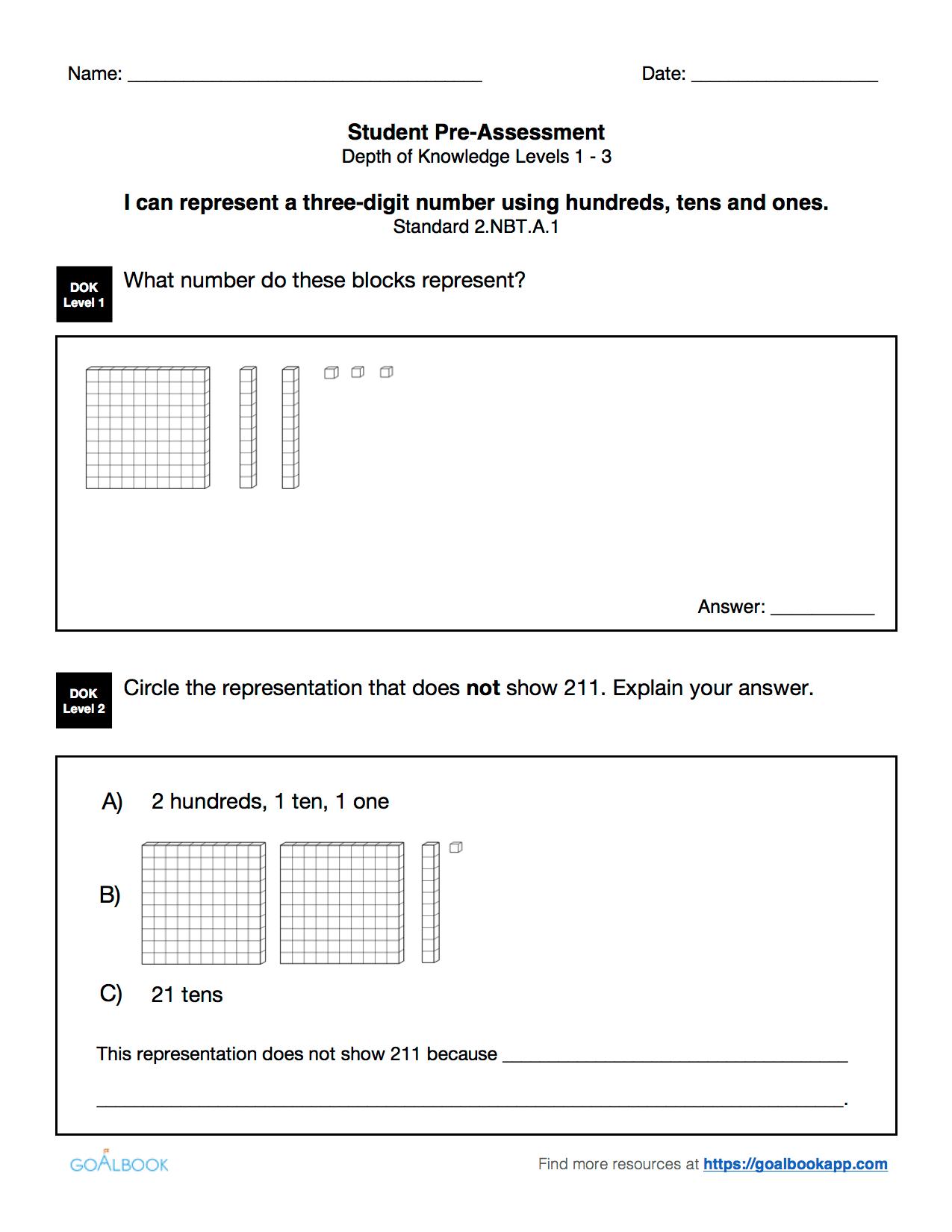 Quick Assessment Representing Three Digit Numbers