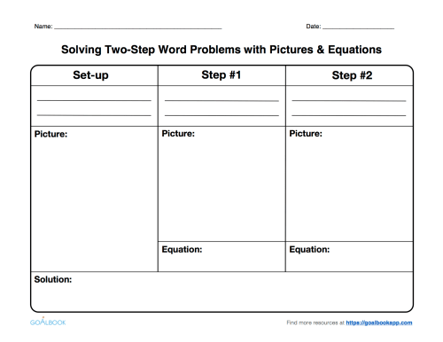 small resolution of Two-Step Word Problems with Drawings \u0026 Equations   Math Anchor Page IEP  Goal and Objectives - Goalbook Toolkit