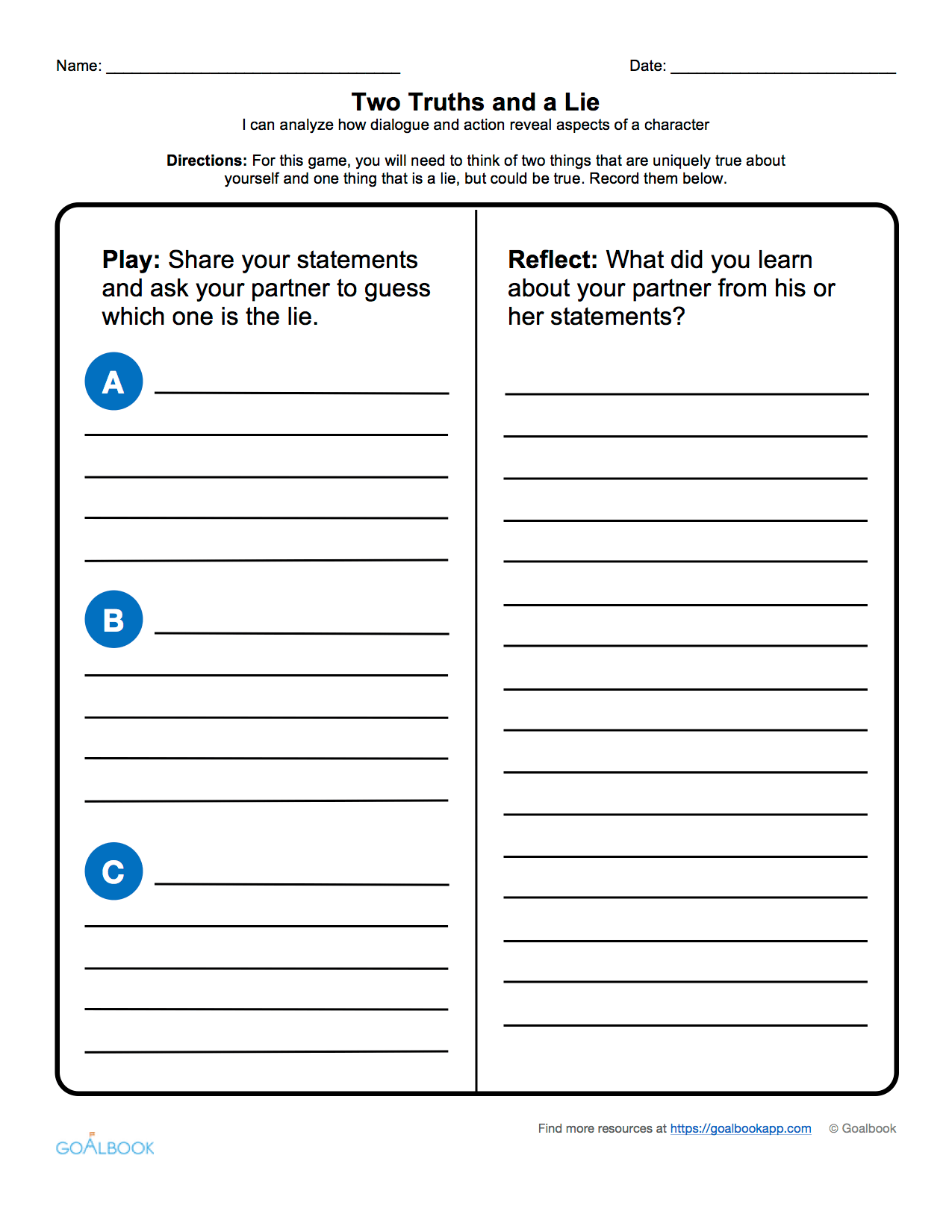 Dialogue Reading Worksheet