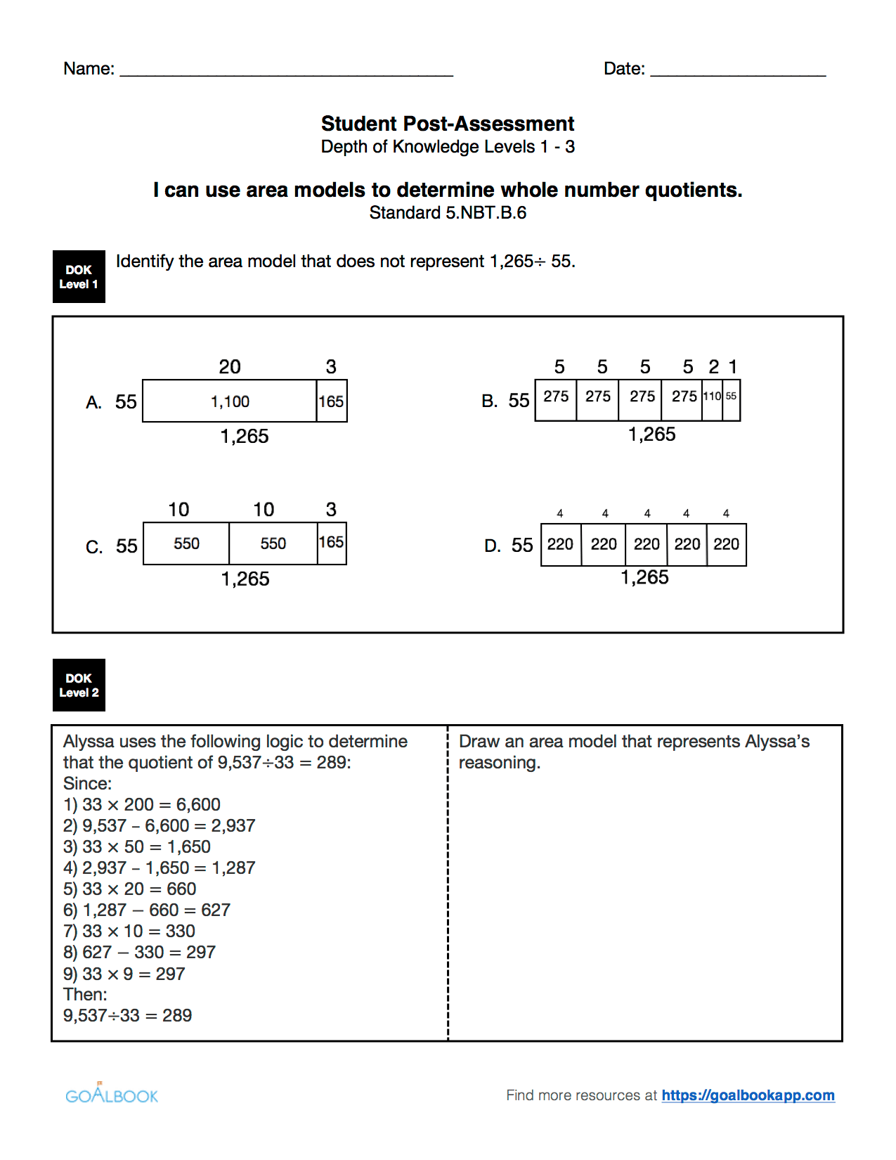 5 Nbt 6 Worksheets
