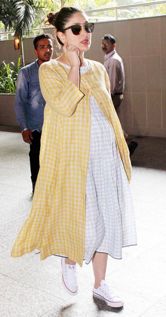Kareena Kapoor Khan wearing a checkered midi dress