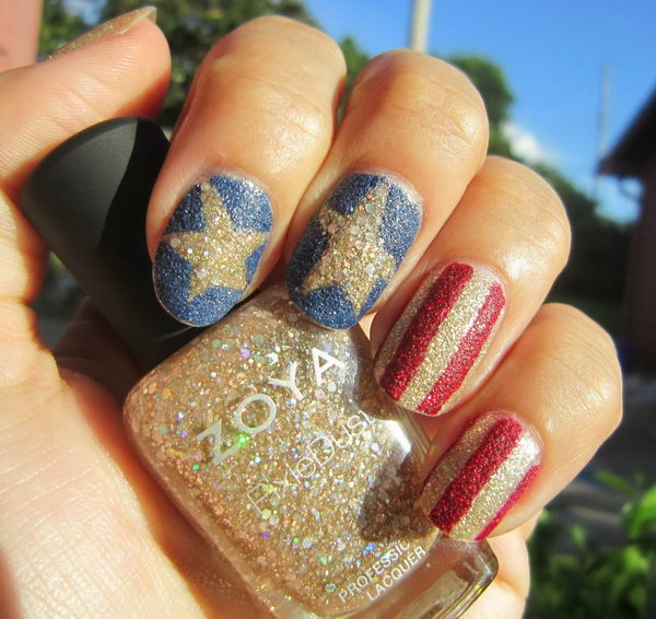 Summer Nail Colors Trend-Sparkle Stripes