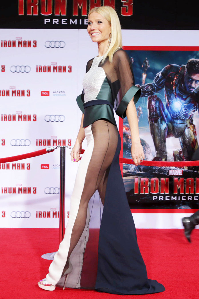 "Naked Dress Trend - Gwyneth Paltrow at the world premiere of ""Iron Man 3""."
