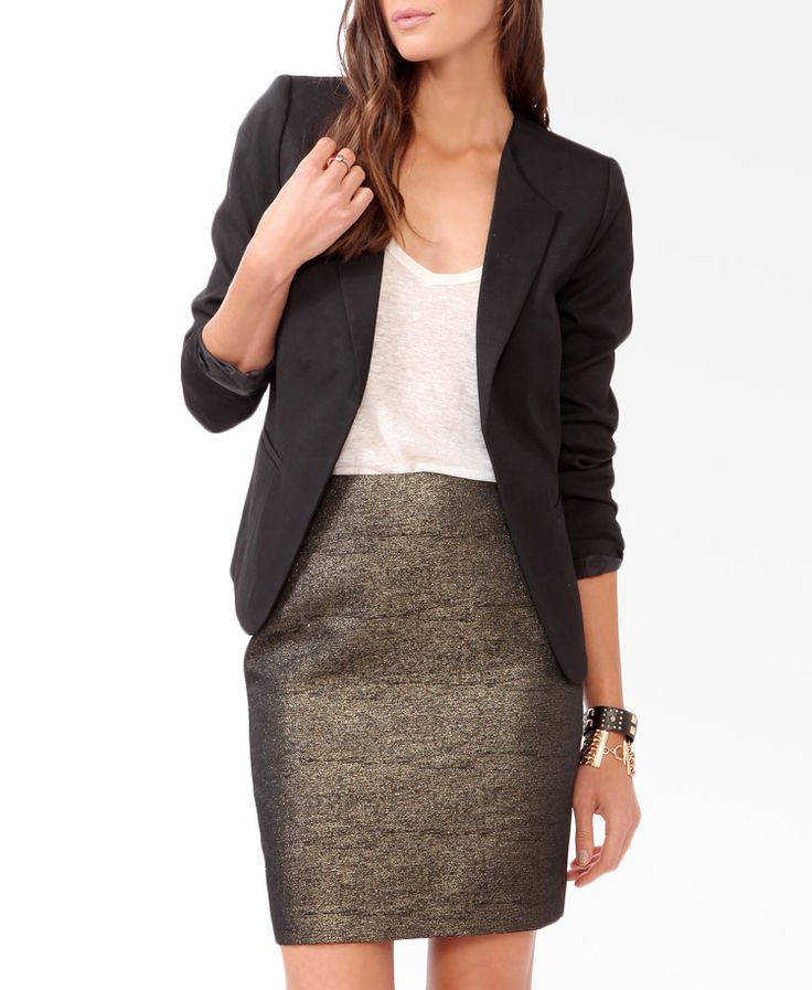 What To Wear To a Job Interview In Fashion-Blazer With Pencil Skirt Look