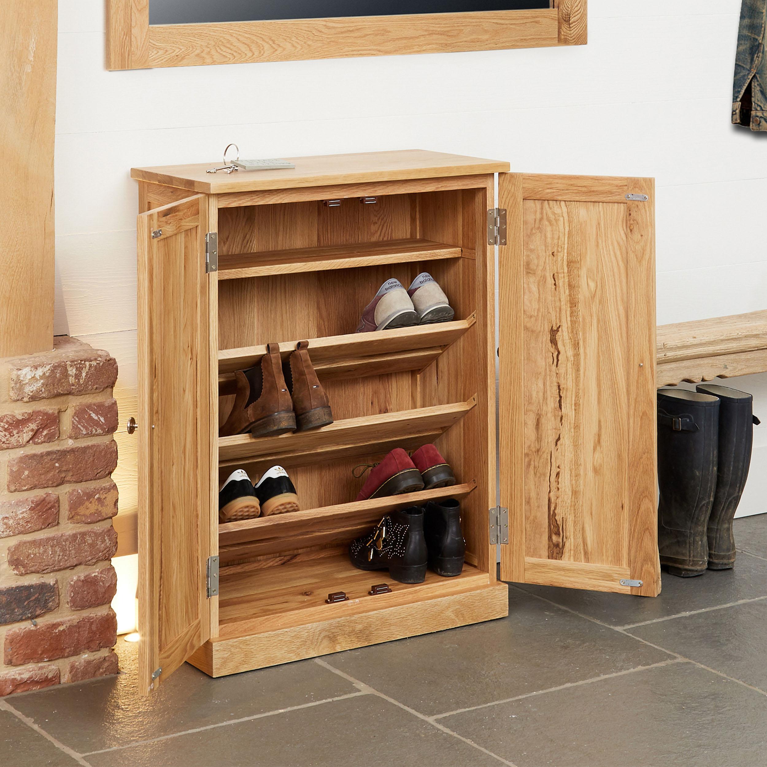 solid oak shoe storage cupboard mobel