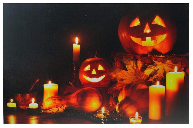 Led Halloween Jack O Lanterns Fall Harvest Canvas Wall Art