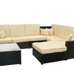 Sofa Table Ebay Sherrill Slipcovers Dak 8 Piece Black Wicker Sectional Ottoman Set
