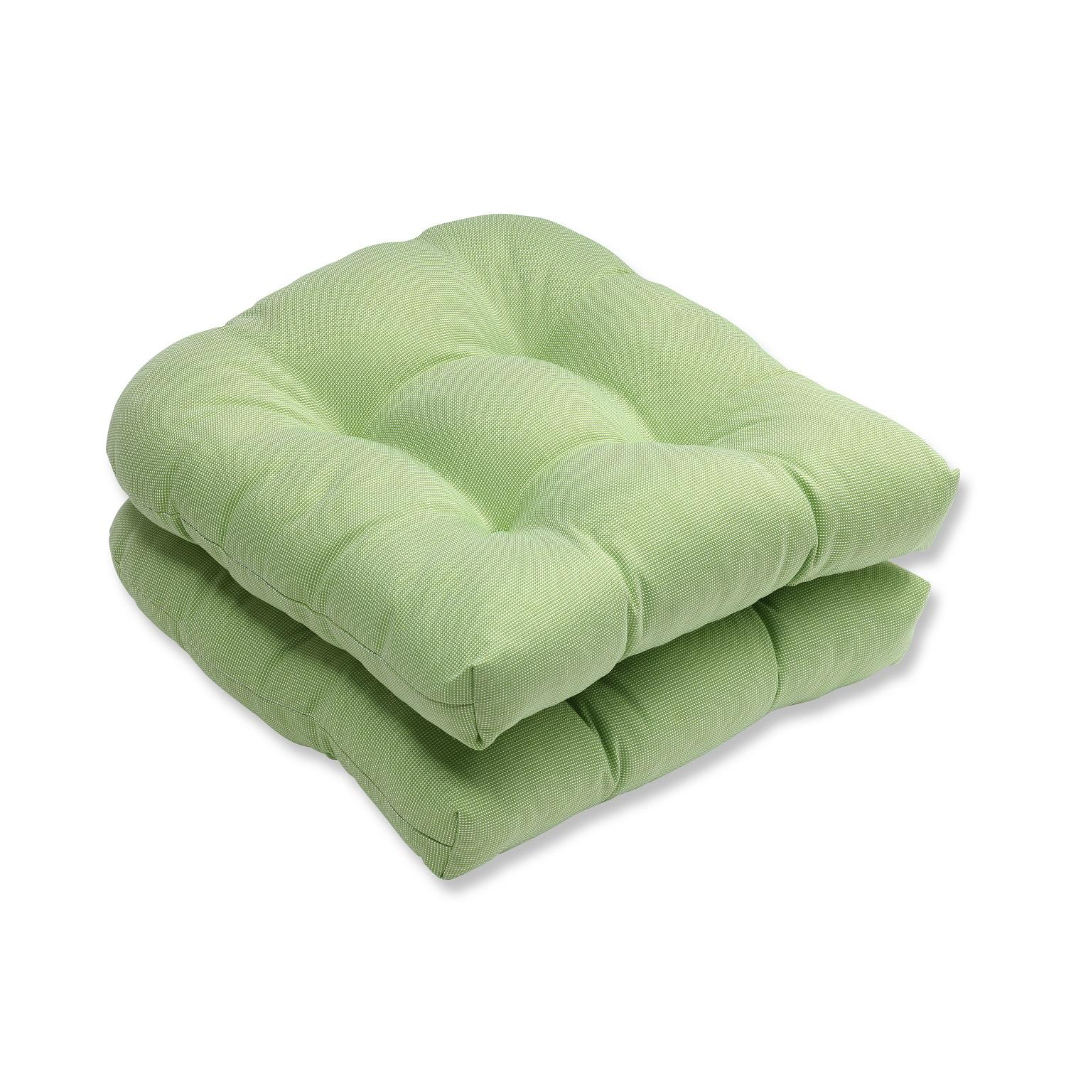 lime green chair pads jerry wheelchair set of 2 tweed outdoor patio rounded cushions
