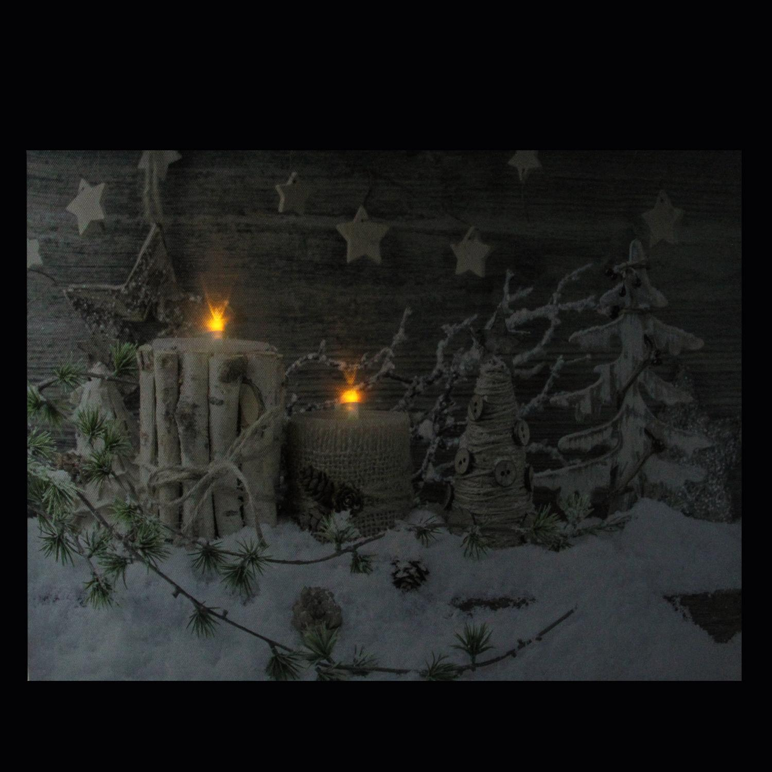 LED Lighted Country Rustic Winter Christmas Canvas Wall