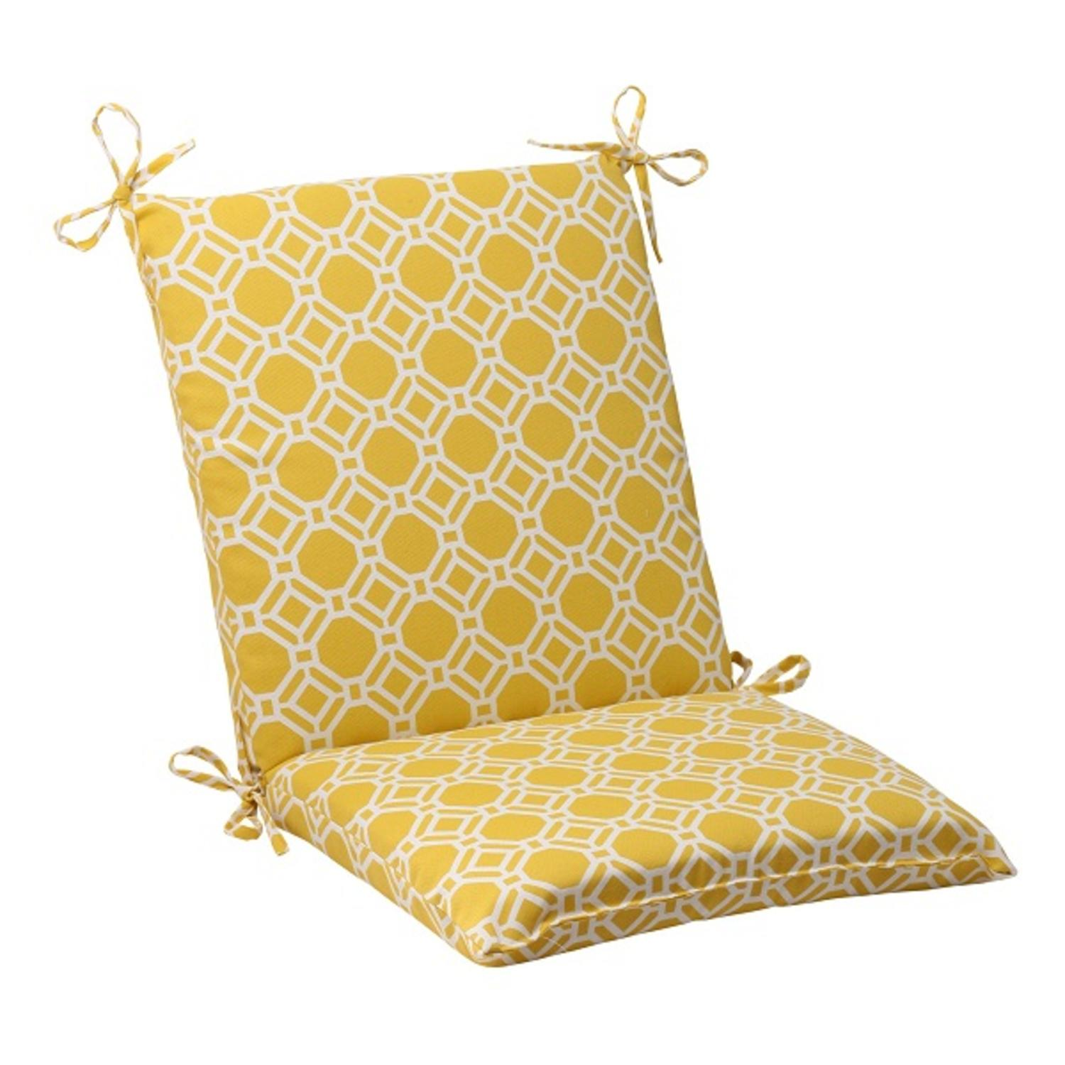 wicker chair cushions with ties covers lidl 36 5 quot sunny yellow and white square outdoor patio
